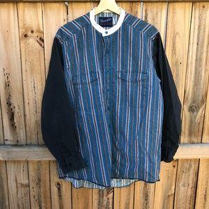 Wrangler Granddad Collar Shirt 16 1/2 32 L